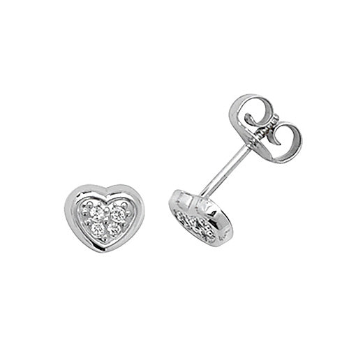 9ct White Gold CZ Heart Stud Earring