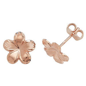 9ct Rose Gold Flower Stud Earring