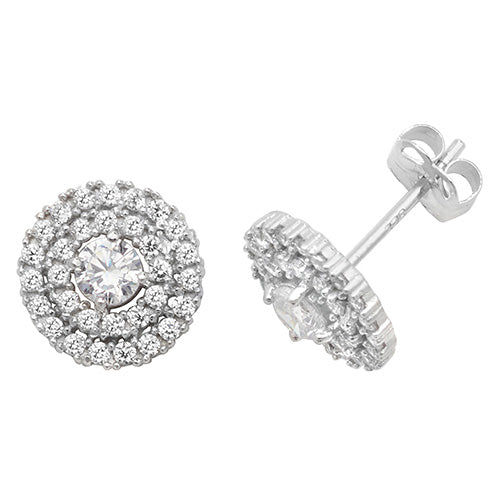 9ct White Gold CZ Stud Earring