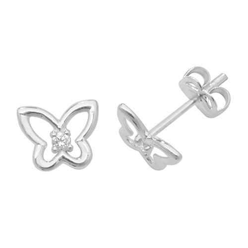 9ct White Gold Butterfly CZ Stud Earring