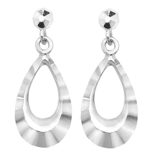 9ct White Gold Drop Earring