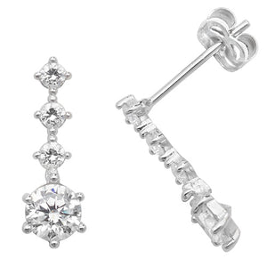 9ct White Gold CZ Drop Earring