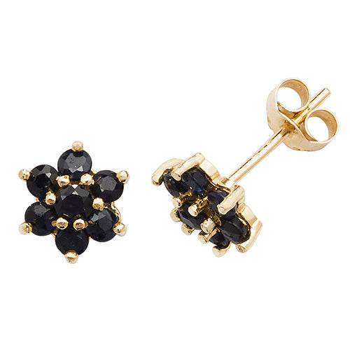 9CT YELLOW GOLD SAPPHIRE STUD EARRINGS