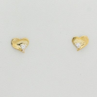 9ct yellow gold solid heart earrings with white cz