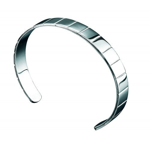 Fred Bennett Gents Plain Sterling Silver Ridged Bangle