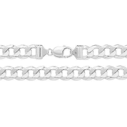 GENTS STERLING SILVER FLAT CURB CHAIN 22INCH