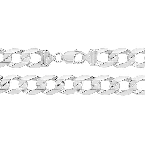 STERLING SILVER FLAT OPEN CURB CHAIN 24INCH