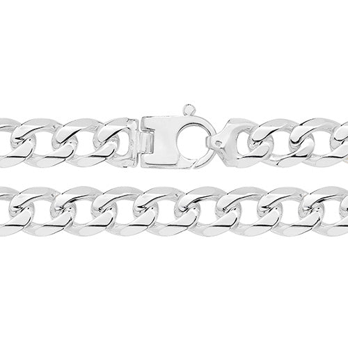 GENTS STERLING SILVER HEAVY D/CUT CURB CHAIN 24 INCH