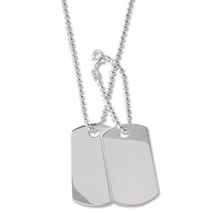 SILVER DOUBLE DOG TAG & BEAD CHAIN