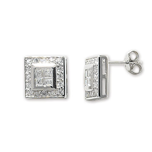 STERLING SILVER SQUARE CZ STUD EARRINGS