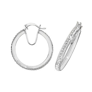 STERLING SILVER 20MM CZ HOOP EARRINGS