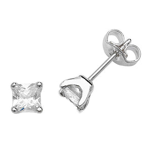 Sterling Silver CZ Square Stud Earring