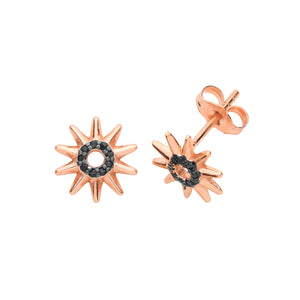 Sterling Silver Rose Gold Plated CZ Stud Earring