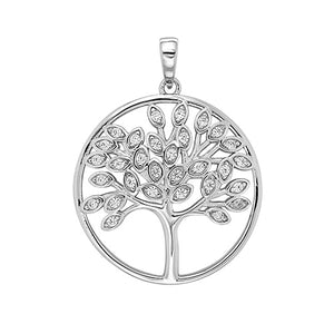 SILVER TREE OF LIFE CZ PENDANT WITH BEL 18IN CHAIN