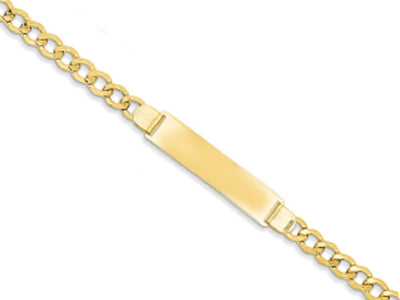 9CT YELLOW GOLD 4.21MM WIDE LADIES ID BRACELET (7.5