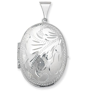 Sterling Silver Engraved Oval Family Locket