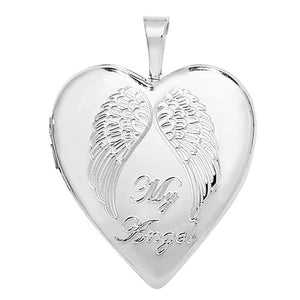 Sterling Silver Heart My Angel Locket