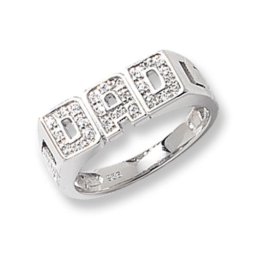 Sterling Silver CZ Dad Ring