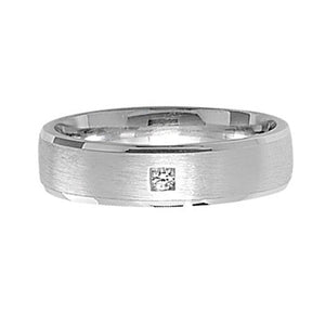 Sterling Silver 5mm Satin FInish CZ Wedding Ring