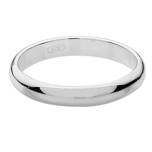 Sterling Silver 3mm D Shape Wedding Band