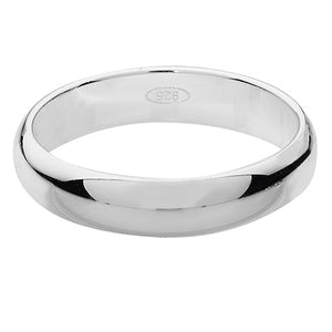 Sterling Silver 4mm D Shape Wedding Ring