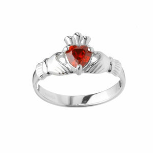 Sterling Silver Claddagh Birthstone Ring (January)