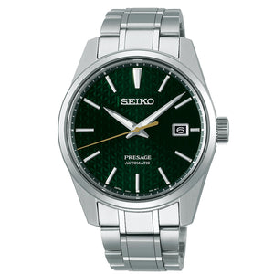 Seiko Presage Sharp Edge Series Green Dial Silver Stainless Steel Bracelet Automatic Men's Watch SPB169J1