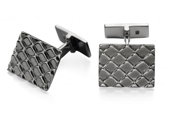 Fred Bennett Silver Textured Black Rhodium Cufflinks