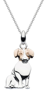 Dew Sterling Silver 3D Jack Russell with Rose Gold Ears Pendant