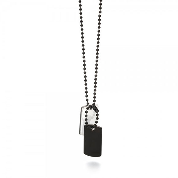 Fred Bennett Gent's Stainless Steel & Black IP Plated Dog Tag Necklace