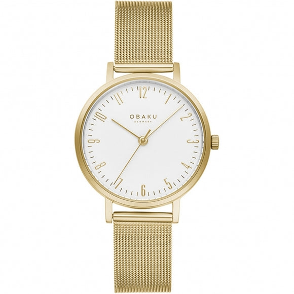 OBAKU BRINK LILLE - GOLD PLATED MESH BRACELET WATCH