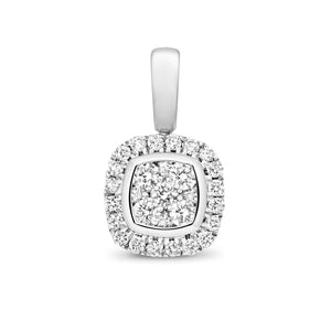 9ct White Gold Diamond Cluster Cushion Pendant