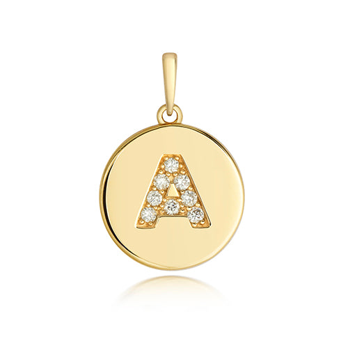 9CT YELLOW GOLD DIAMOND INITIAL PENDANT