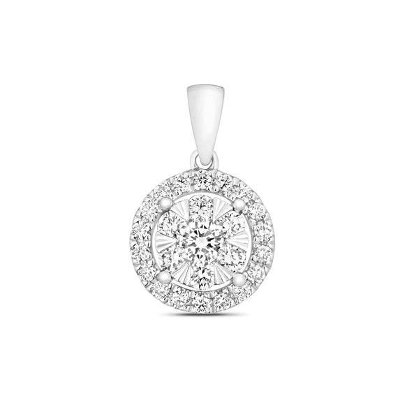 18CT WHITE GOLD DIAMOND CLUSTER HALO STYLE  PENDANT