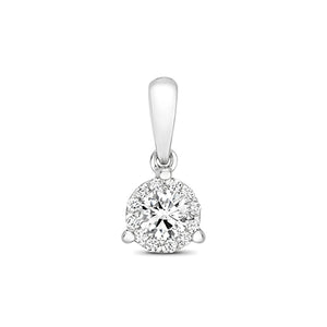 18CT WHITE GOLD BRILLIANT CUT DIAMOND CLUSTER PENDANT