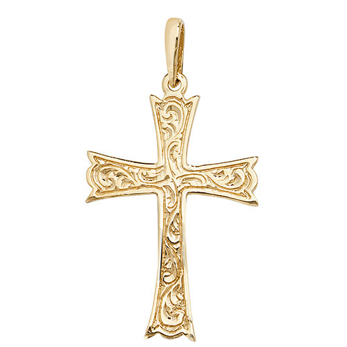 9ct Yellow Gold Patterned Cross