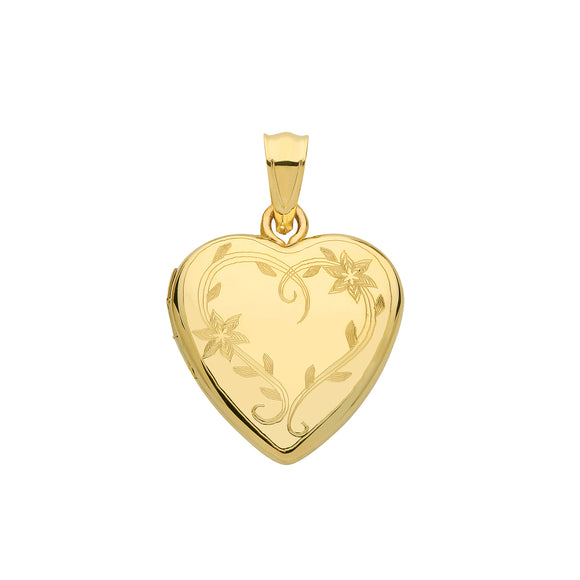 9ct Yellow Gold Heart Engraved Locket