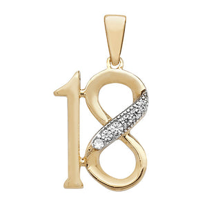 9ct Yellow Gold 18th Pendant