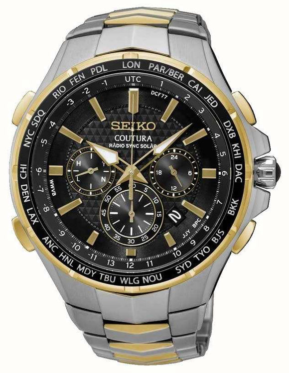 Seiko Coutura Gents Two Tone Radio Sync Solar Bracelet Watch