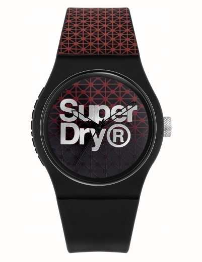 Superdry Urban Geo Sport | Black/Red Silicone Strap | Black/Red Dial