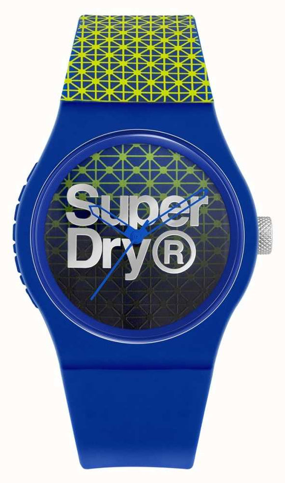 Superdry Urban Geo Sport | Blue/Green Silicone Strap |Blue/Green Dial