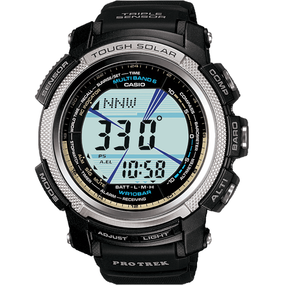 Mens Casio Pro Trek Wave Ceptor Tough Solar Alarm Chronograph Watch