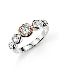 Silver and Rose Plating Clear CZ Ring