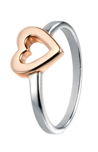 Silver Rose Plating Open Heart Ring