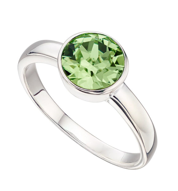 Silver Green Swarovski  August Birthstone Ring