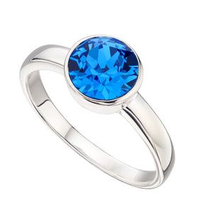 Silver Blue Swarovski September Birthstone Ring