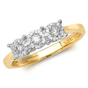 9ct Yellow Gold 3 Stone Diamond Cluster Ring