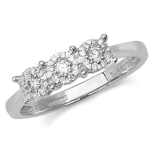 9ct White Gold 3 Stone Diamond Cluster Ring