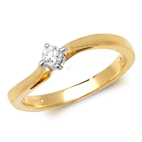 9ct Yellow Gold Diamond Soliatire Ring