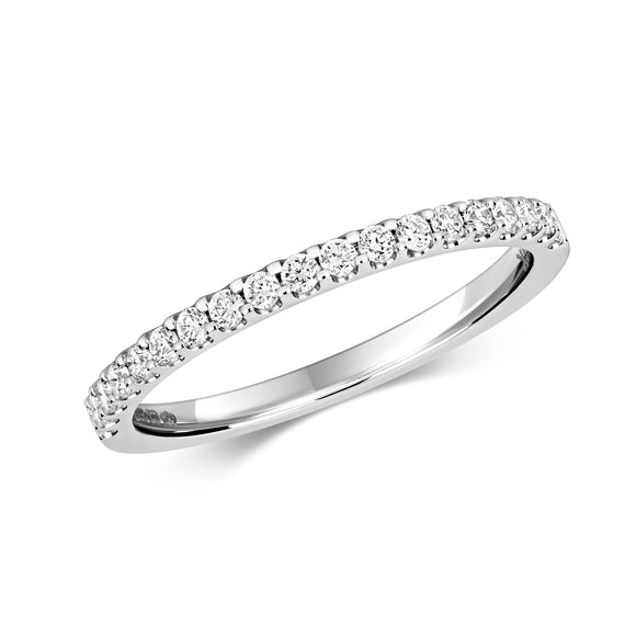 9ct White Gold Diamond Set Band